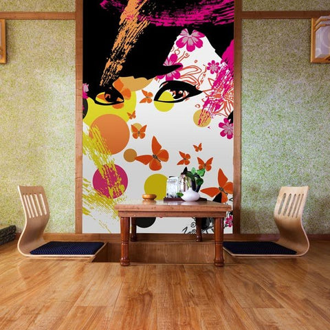 Floral Girl Wall Mural - Window Film World