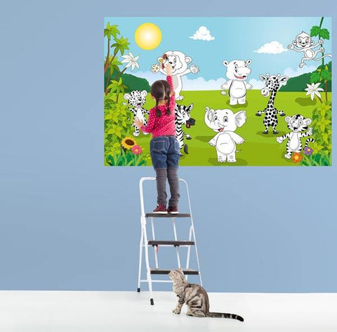 Happy Animals Wall Mural - Window Film World