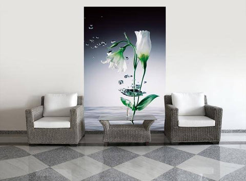 Crystal Flowers Wall Mural - Window Film World