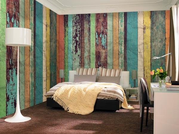 Colored Wood Wall Mural - Window Film World