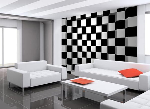 Black & White Squares Wall Mural - Window Film World