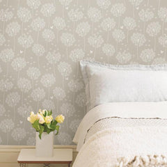Dandelion Taupe Peel And Stick Wallpaper - Window Film World