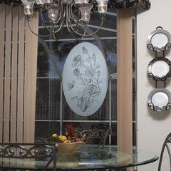 Oval Rose Etched Glass Decals - Window Film World