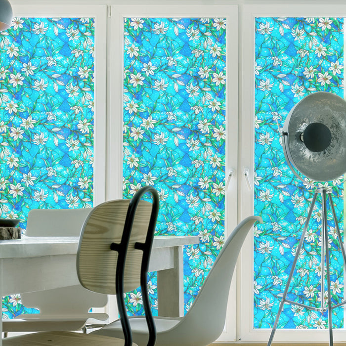 EZ Film Stained Glass Lily Forest | Privacy (Static Cling) - Window Film World