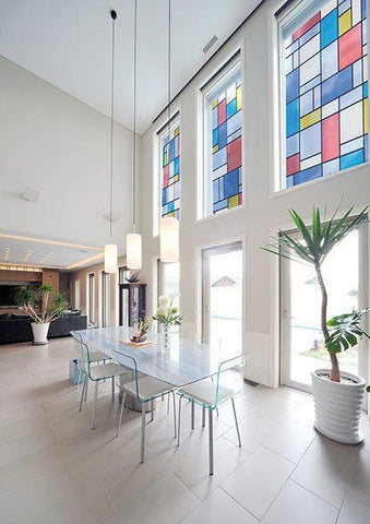 Mondrian Stained Glass Adhesive Window Film - Window Film World
