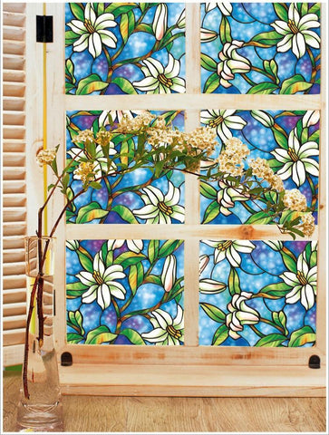 stained glass lily forest window film world