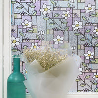 EZ Film Stained Glass Lily Flowers | Semi -Privacy (Static Cling) - Window Film World
