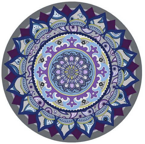 Mandala Purple & Grey Glass Door Decal - Window Film World