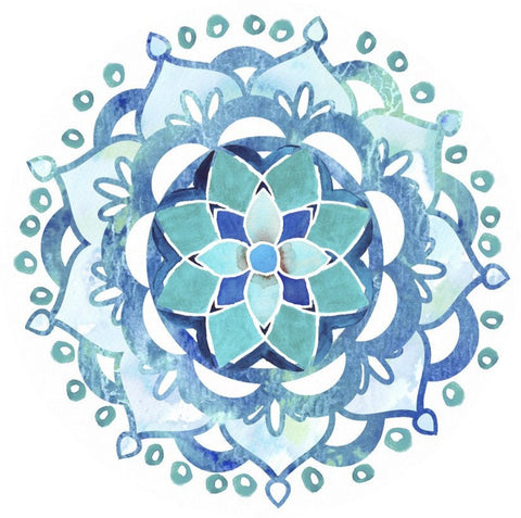 Mandala Blue Glass Door Decal - Window Film World