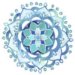 "Mandala Blue Glass Door Decal (5.75"" x 5.75"") - Window Film World"