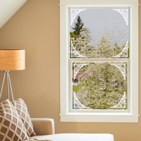 Morning Glory Corner Etched Glass Decals | (Static Cling) - Window Film World