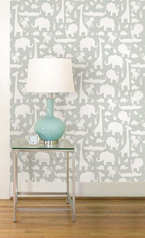 Gray Its A Jungle In Here Peel And Stick Wallpaper - Window Film World