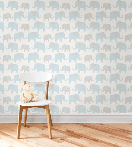 Blue Elephant Parade Peel And Stick Wallpaper - Window Film World