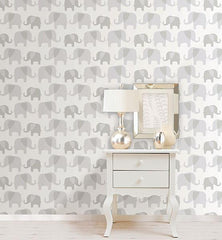 Gray Elephant Parade Peel And Stick Wallpaper - Window Film World