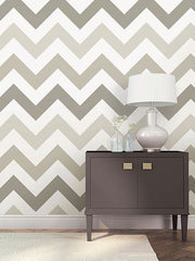 Taupe Zig Zag Peel And Stick Wallpaper - Window Film World