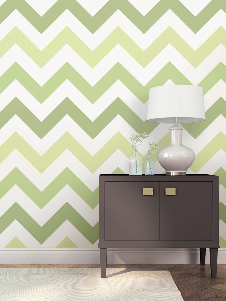 Green Zig Zag Peel And Stick Wallpaper - Window Film World