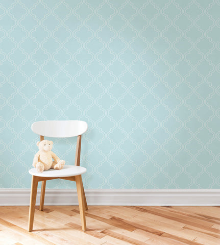 Blue Quatrefoil Peel And Stick Wallpaper - Window Film World