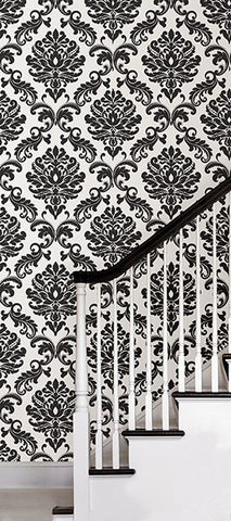 Ariel Black and White Damask Peel And Stick Wallpaper - Window Film World