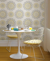 Grey and Yellow Suzani Peel And Stick Wallpaper - Window Film World