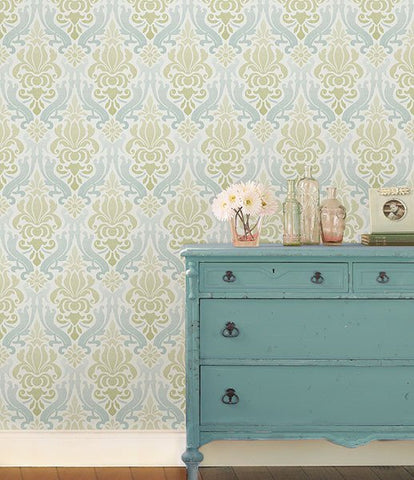 Blue and Green Nouveau Damask Peel And Stick Wallpaper - Window Film World