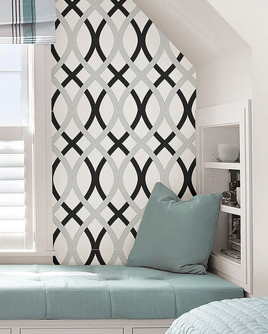 Black and Silver Lattice Peel And Stick Wallpaper - Window Film World
