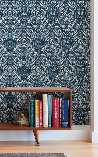 Bohemian Damask Indigo Peel and Stick Wallpaper - Window Film World