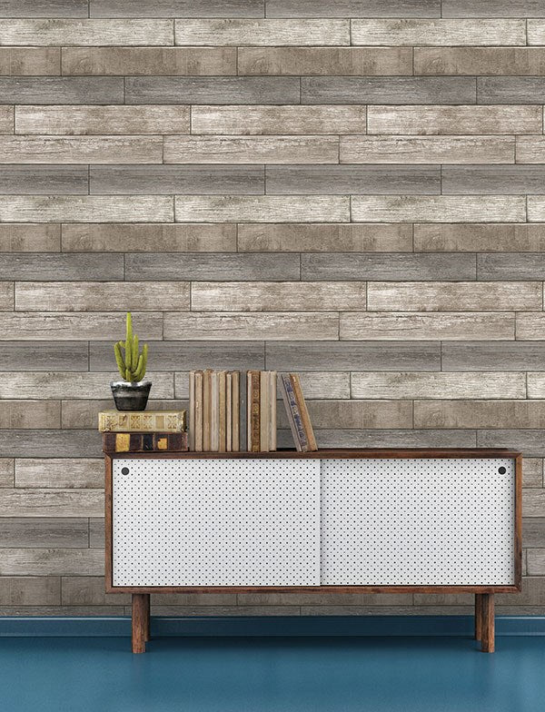 Reclaimed Wood Plank Natural Peel and Stick Wallpaper