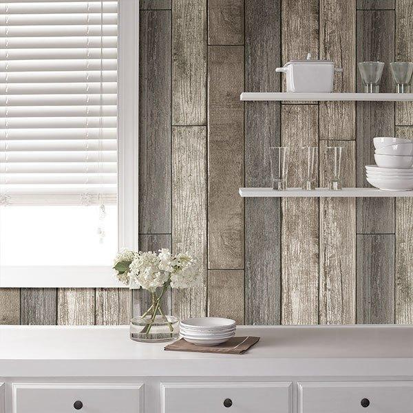 Reclaimed Wood Plank Natural Peel and Stick Wallpaper - Window Film World