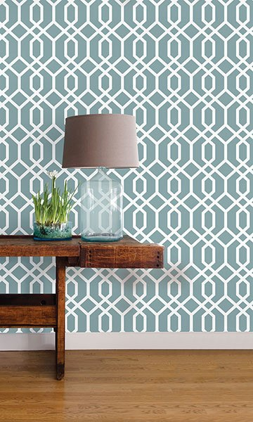 Montauk Lattice Hemlock Blue Peel and Stick Wallpaper - Window Film World