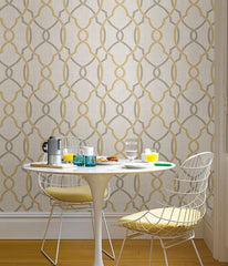 Sausalito Taupe/Yellow Peel and Stick Wallpaper - Window Film World