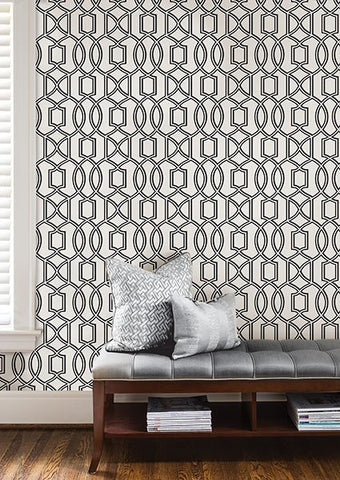 Uptown Trellis Black/White Peel and Stick Wallpaper - Window Film World