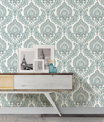 Kensington Damask Blue Peel and Stick Wallpaper - Window Film World