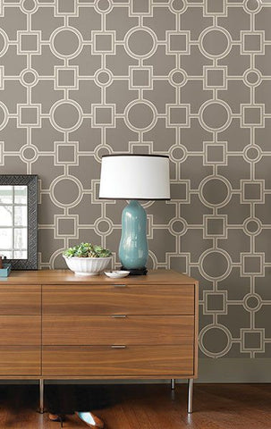 Utopia Geo Taupe Peel and Stick Wallpaper - Window Film World