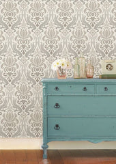 Grey Nouveau Damask Peel And Stick Wallpaper - Window Film World
