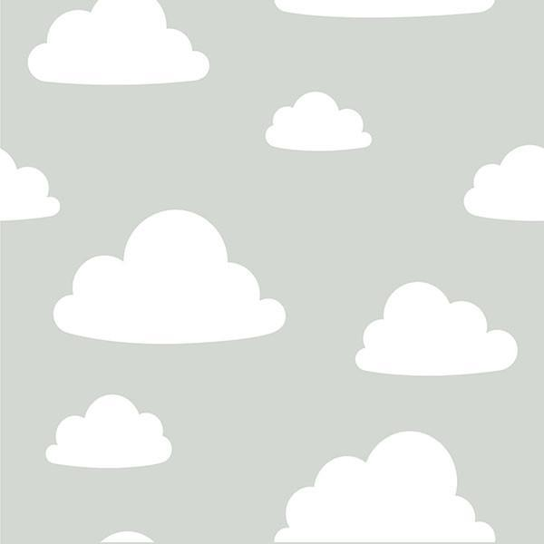 Clouds Grey Peel and Stick Wallpaper - Window Film World