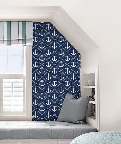 Set Sail Navy Peel and Stick Wallpaper - Window Film World