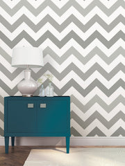 Zig Zag Grey Peel and Stick Wallpaper - Window Film World