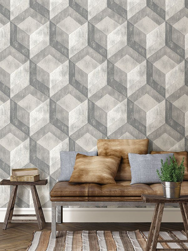 Bauhaus Weathered Wood Peel and Stick Wallpaper - Window Film World