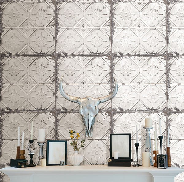 Vintage Tin Tile Peel And Stick Wallpaper