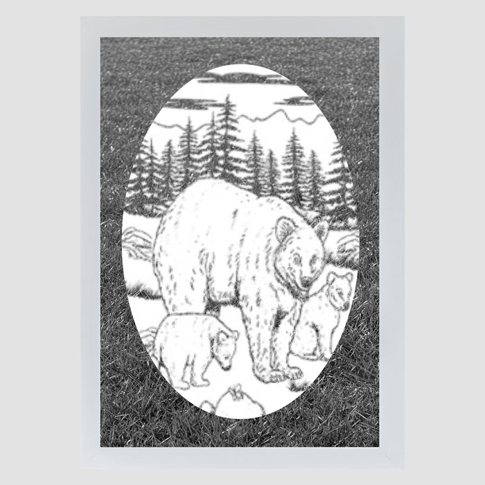 Oval Bear Etched Glass Decal | (Static Cling)