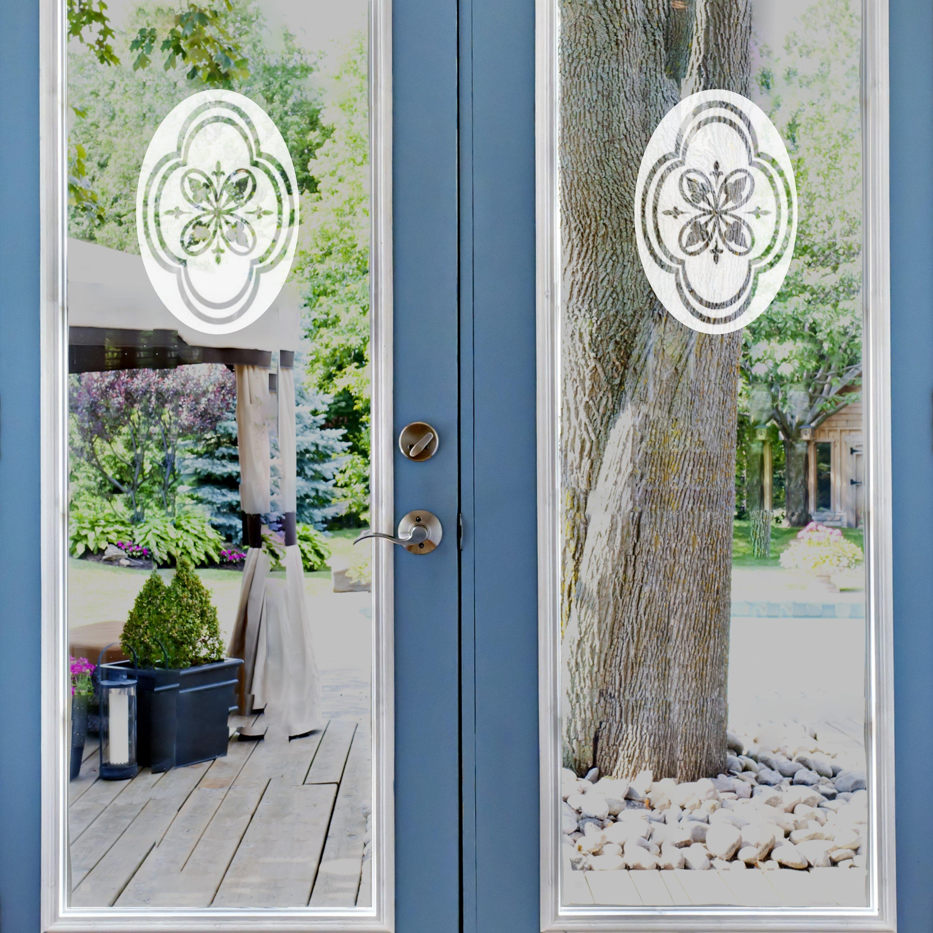 4 x 6 Oval Decorative Design Etched Window Decal Vinyl Glass Cling White with Clear Design Elements