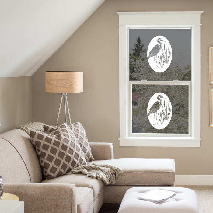 Oval Egret and Cattails Etched Glass Decal | (Static Cling) - Window Film World