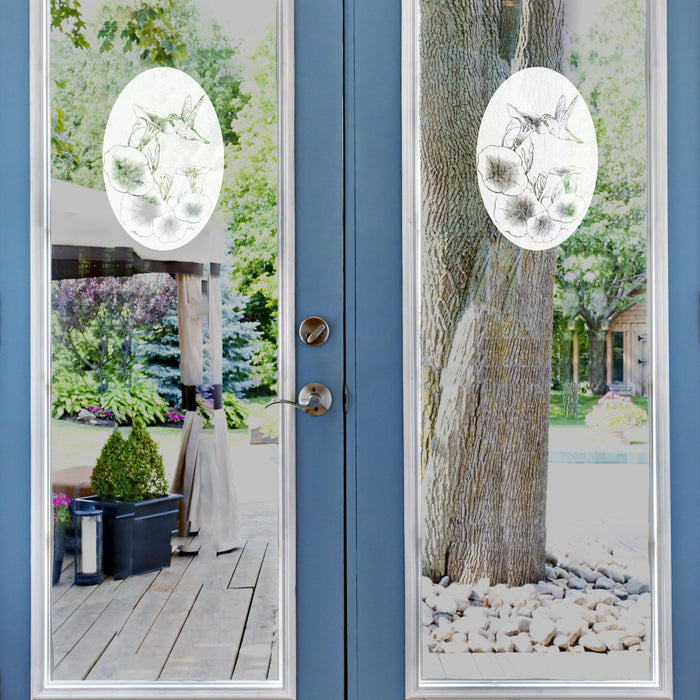 Oval Morning Glory Vertical | (Static Cling) - Window Film World