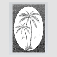 Oval Palm Tree Right Side | (Static Cling) - Window Film World