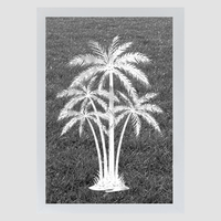 Oval Palm Tree Center Reverse | Etched Glass Decal (Static Cling) - Window Film World