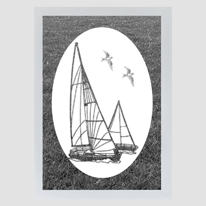 Oval Sailboat  | (Static Cling)