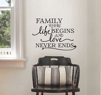 Family Where Life Begins Wall Quote - Window Film World