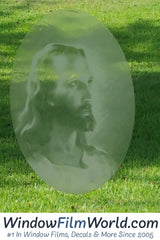Oval Christ Etched Glass Decal | (Static Cling) - Window Film World