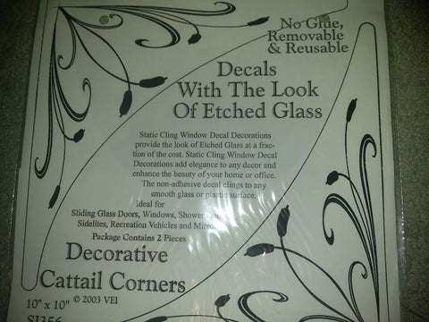 Decorative Cattail Corner Etched Decals - Window Film World