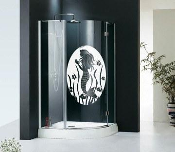 Oval Mermaid Etched Glass Decals - Window Film World